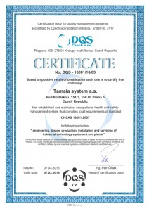 ISO 18001:2007 Certificate